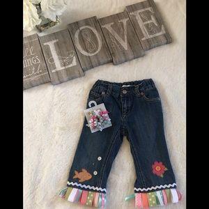 Custom jeans w/matching hair accessory